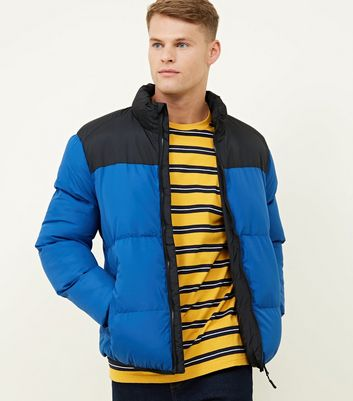 Blue Hooded Colour Block Puffer Coat