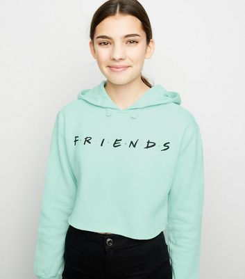 Girls Mint Green Friends Slogan Hoodie