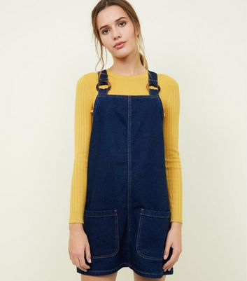 Blue Denim Faux Horn Ring Pinafore Dress
