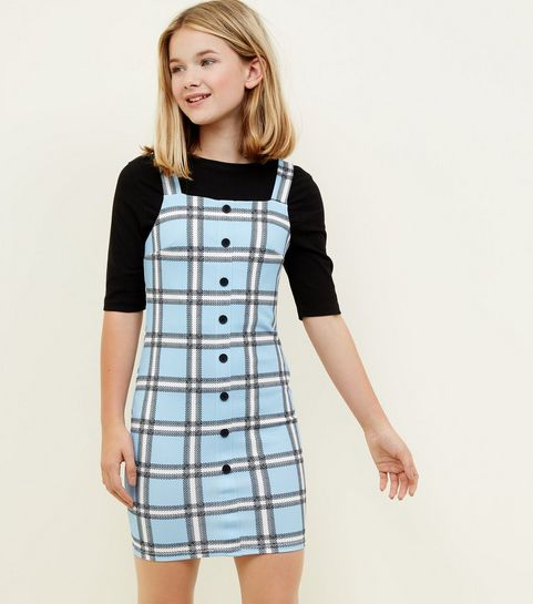 Girls dresses floral party dresses new look girls blue check button front bodycon pinafore dress mightylinksfo