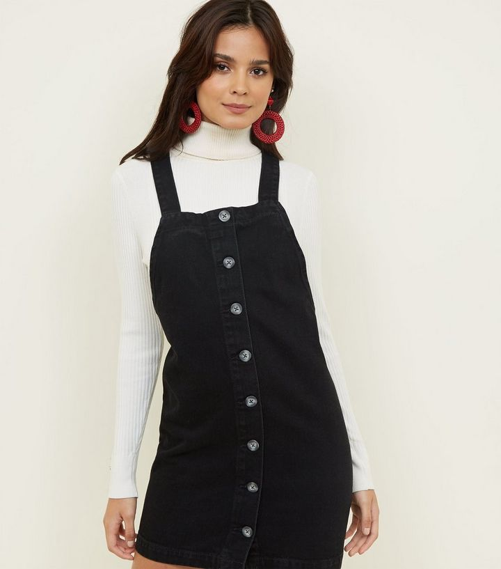 Black Button Front Denim Pinafore Dress New Look