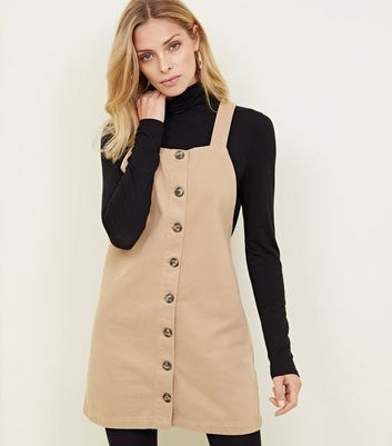 Camel Button Front Denim Pinafore Dress