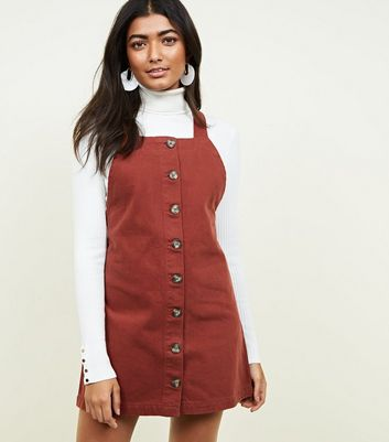 Dark Brown Button Front Denim Pinafore Dress