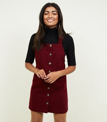 Burgundy Button Front Denim Pinafore Dress