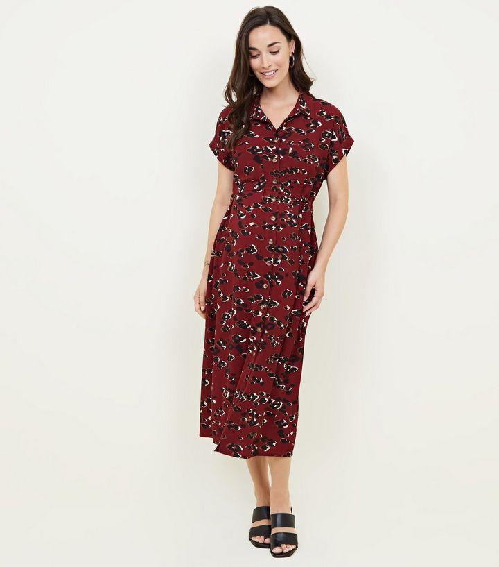 44033b17e8ac0 Maternity Red Camo Leopard Print Midi Shirt Dress