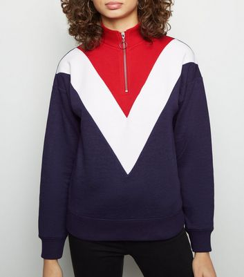 Navy Chevron Zip Funnel Neck Sweatshirt