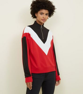 Red Chevron Zip Funnel Neck Sweatshirt