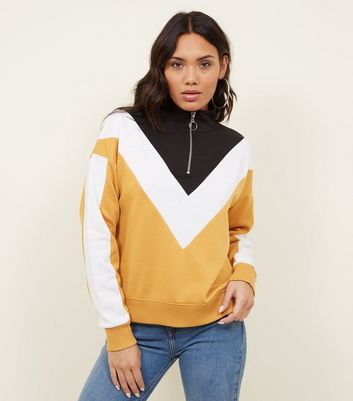 Mustard Chevron Zip Funnel Neck Sweatshirt