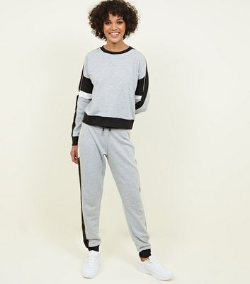 Grey Marl Colour Block Joggers