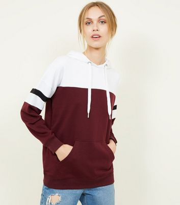 Burgundy Colour Block Oversized Hoodie