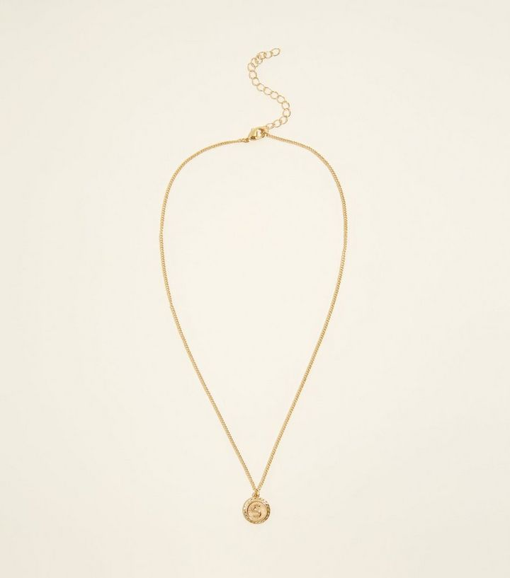 Gold s initial pendant necklace new look shop the look aloadofball Choice Image
