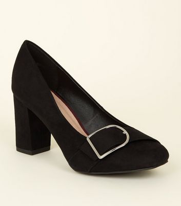 Black Comfort Flex Suedette Buckle Trim Courts