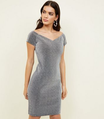 Silver Glitter Sweetheart Bardot Neck Dress