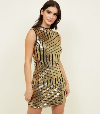 Blue Vanilla Gold Sequin Sleeveless Mini Dress