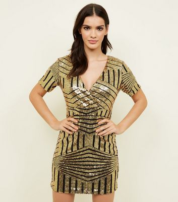 Blue Vanilla Gold Sequin Wrap Mini Dress
