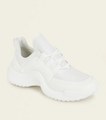 White Curve Sole Chunky Trainers
