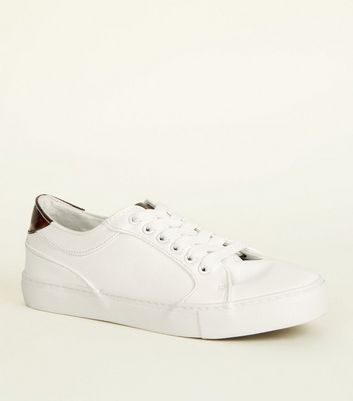 White and Tortoiseshell Print Lace Up Trainers