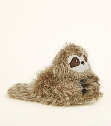 Light Brown Faux Fur Sloth Slippers