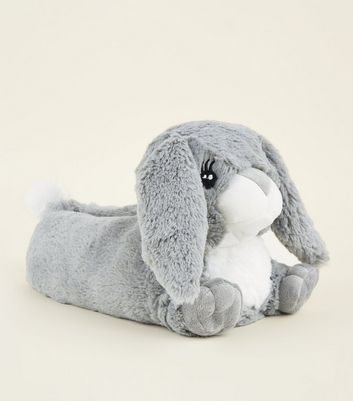 Grey Fluffy Bunny Slippers