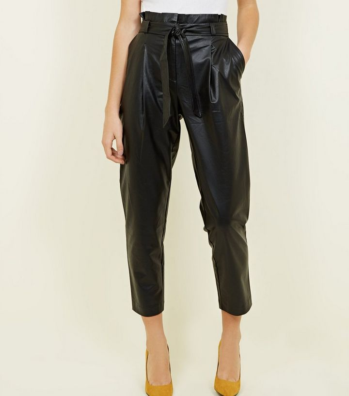 yet not vulgar matching in colour enjoy big discount Black Leather-Look Tie Waist Tapered Trousers Add to Saved Items Remove  from Saved Items