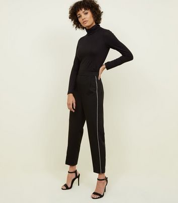 Black Diamanté Side Stripe Tapered Trousers