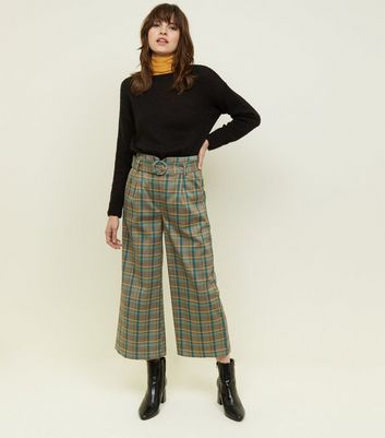 Green Herringbone Check Belted Cropped Trousers