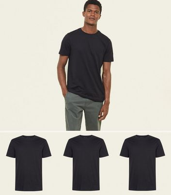 3 Pack Black Short Sleeve Cotton T-Shirts