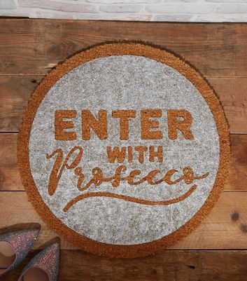 Silver Enter With Prosecco Door Mat