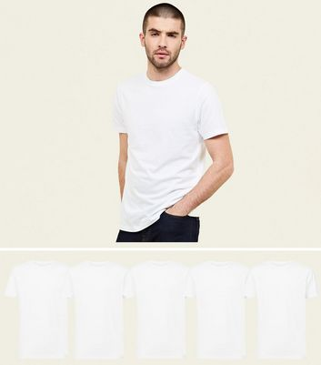 5 Pack White Crew Neck T-Shirts