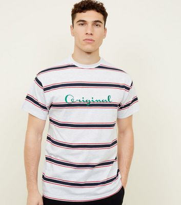 Grey Stripe Original Embroidered Slogan T-Shirt