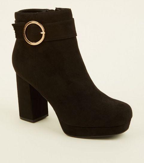 7cd606558103 ... Black Ring Buckle Strap Platform Boots ...