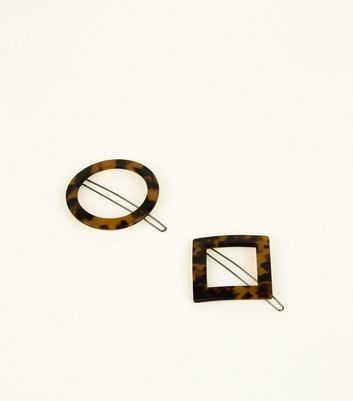 2 Pack Brown Faux Tortoiseshell Shape Hair Clips New Look