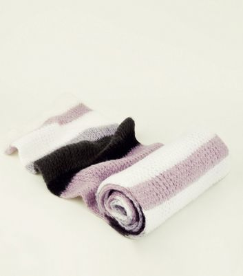 Lilac Stripe Extra Long Knit Scarf