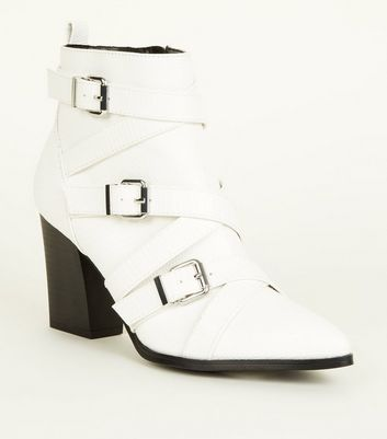 White Faux Snake Strappy Western Ankle Boots