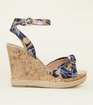 Blue Floral Satin and Gold Trim Cork Wedges
