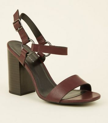 Dark Red Leather-Look Ring Strap Block Heels