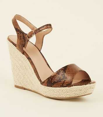 Brown Faux Snake Platform Espadrille Wedges