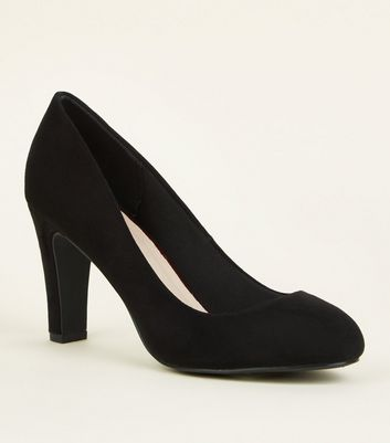 Black Comfort Flex Suedette Block Heels Courts by New Look