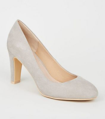 Grey Comfort Flex Suedette Block Heel Courts