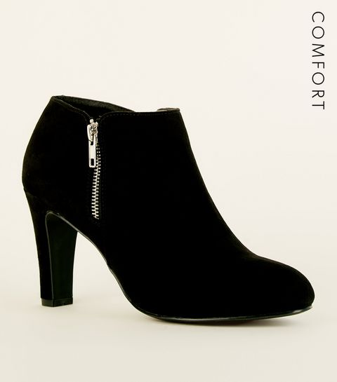 ... Black Comfort Flex Suedette Zip Side Shoe Boots ... 0fe55c6cf4a9