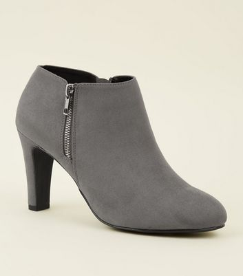 Grey Comfort Flex Suedette Zip Side Shoe Boots