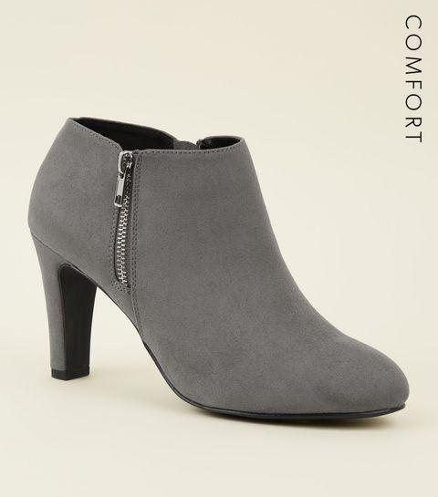 36696c2ab8ffe ... Grey Comfort Flex Suedette Zip Side Shoe Boots ...