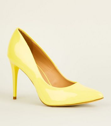 Yellow Patent Pointed Stiletto Courts