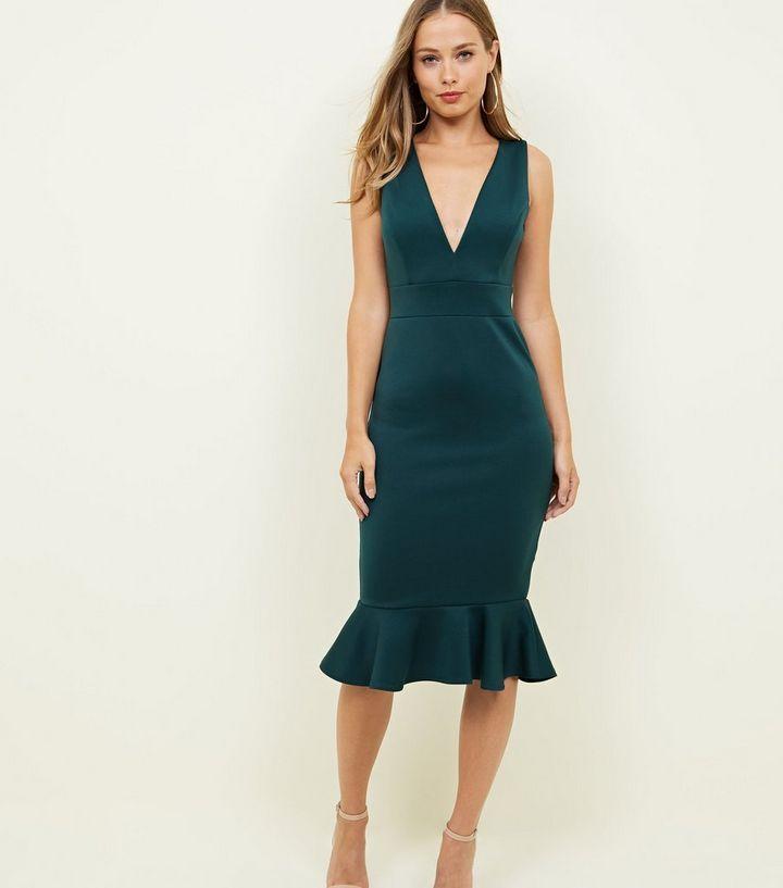 ... Dark Green Plunge Neck Frill Hem Dress. ×. ×. ×. Shop the look ec1a5e51f