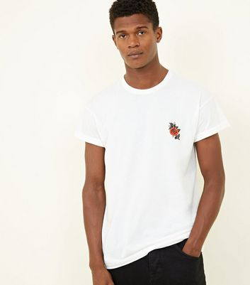White Rose Embroidered Turn-Up Sleeve T-Shirt