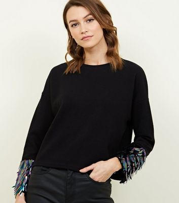 Black Fine Knit Sequin Cuff Jumper