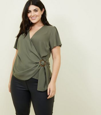 Curves Khaki Buckle Side Wrap Top