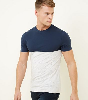 Navy Colour Block Spray Muscle Fit T-Shirt