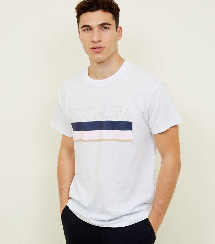 48300a78 White Nostalgia Stripe Logo T-Shirt | New Look