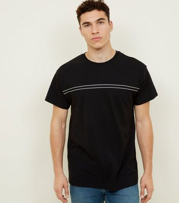 Black Mesh Tape Stripe T-Shirt